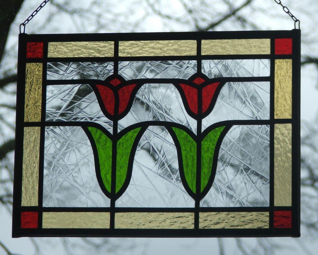 Super Glas in Lood raamhanger 2 tulpen – WenT Glasatelier UV-87