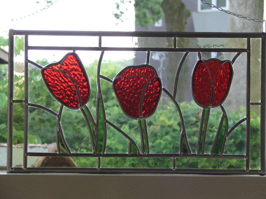 Wonderbaar Glas in Lood raamhanger 3 tulpen – WenT Glasatelier LC-46
