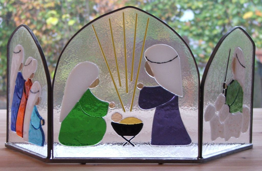 glasfusing drieluik kerststal – WenT Glasatelier
